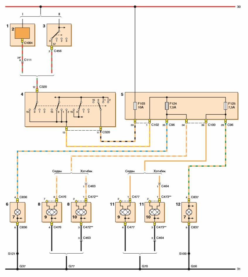 Схема кнопки на включения габаритов