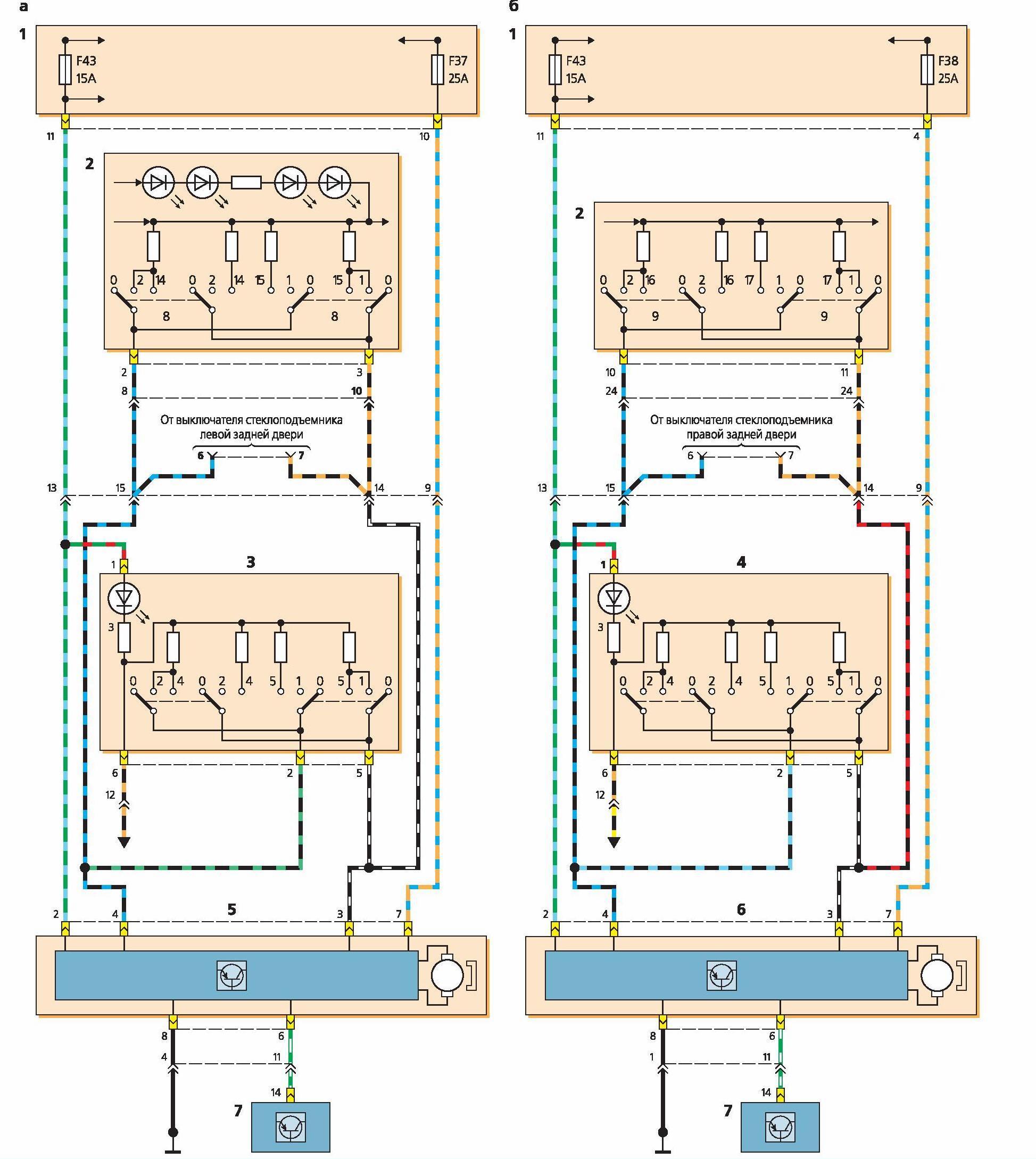 центральный блок управления стеклоподъемниками схема