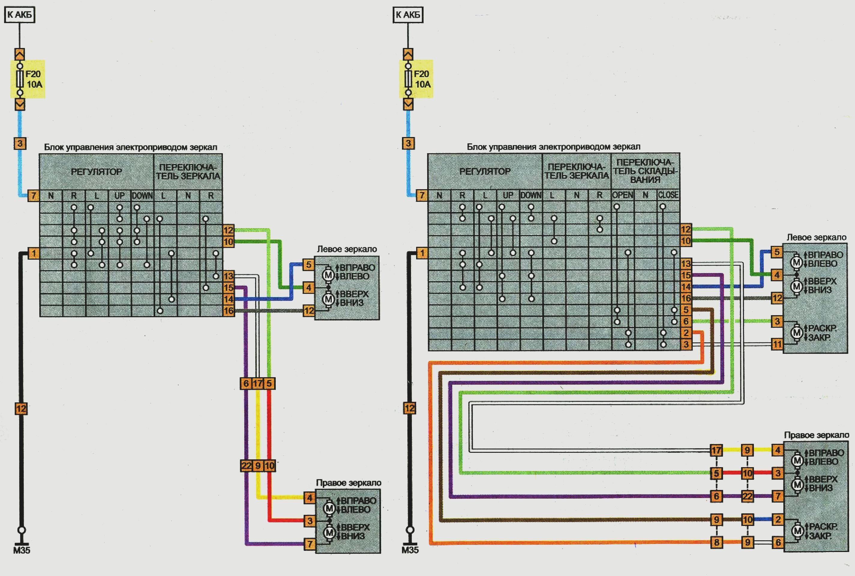 Электрическая схема складывания зеркал